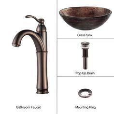 Copper Illusion Glass Vessel Sink and Riviera Faucet Oil Rubbed Bronze