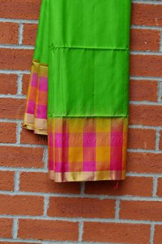Parrot Green Coimbatore Pattu Saree with Pink/Yellow Checks & Zari Border - Aliveni