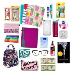"""""""What I take & need for school"""" by barobo ❤ liked on Polyvore featuring beauty, Starter, CamelBak, Clean & Clear, Vera Bradley, OPTIONS, Nivea, River Island, Happy Plugs and Victoria's Secret"""