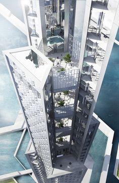 Cloud-harvesting skyscraper: renderings of proposed new sustainable Tokyo development
