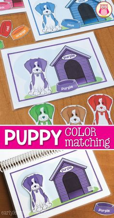 Teach kids colors with this hands-on learning activity.  This dog color match activity is so much fun that your kids won't even realize that they are learning. Kids can match the puppies and dog bowls to the matching dog house.  This is a perfect addition to your pets unit.  The activity is appropriate for preschool, pre-k, and tot school.  The set comes with a cover and can also be made into a color matching busy book for your kids.