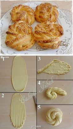 Croissant rosettes - not in english but the diagram is enough..