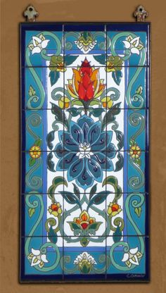 Arabesque Lotus Blossom  Hand Glazed Tile by CarlyQuinnDesigns, $500.00