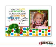 Hungry Caterpillar Photo Birthday Thank You Card