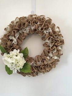 Lace and burlap Wreath White Hydrangea  Flower white lace