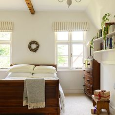 Mahogany wood and white bedroom