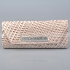 Champagne Oblong Surplice Satin Evening Clutch with Rhinestone