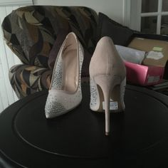 Cinderella shoes The leather part of these are a very soft blush! The white part is sheer. Both have rhinestone embellishments sprinkled all over! Really, romantically pretty! Shoes Heels