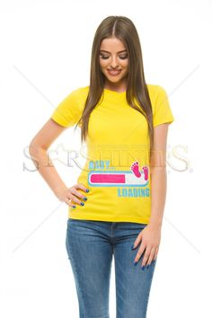 Baby Loading Yellow T-Shirt, women`s T-Shirt, writing print, short sleeves, elastic fabric The Happy Prince, Remember Who You Are, Yellow T Shirt, Clothing Items, Short Sleeves, Fabric, Baby, How To Wear, Shirts