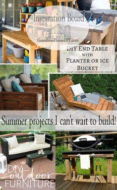 Need a summer project for this summer? Tables, buffets, chaise loungers, potting bench, chair, sofa, all for your outside patio or deck or fire pit!