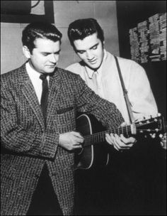 Elvis and Sam Phillips at Sun Studio
