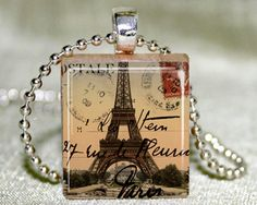 Eiffel Tower Scrabble Pendant with Necklace and Matching could also use postage stamps over the scabble tile..then resin dip