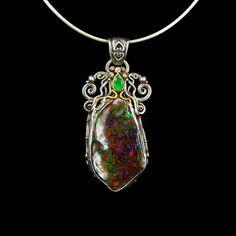 90bc209e3856 GOTAMA PENDANT 2.1   Australian Opal - Colombian Emerald - 21k Gold - Silver  - Renaissance - High Jewelry - Boho - Tribal - Ethnic - Nature