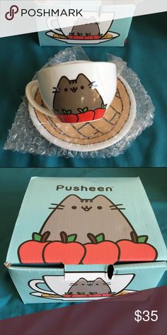 Pusheen Tea Cup - Fall 2016 Exclusive This is a teacup and saucer set featuring original Pusheen designs. Included is the original box and packaging. The cup and plate are in mint condition and have never been used, the set is an exclusive from the Pusheen Box Fall 2016. Other