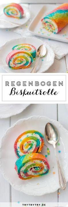 Regenbogen Biskuitrolle #regenbogen #biskuitrolle #rainbow #cakeroll #kindergeburtstag #geburtstag