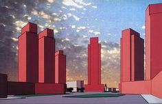 Hans Kollhoff. Architectural Design v.61 n.92 1991: 63 | RNDRD Hans Kollhoff, Abstract Art Images, Presentation Layout, Architecture Drawings, Architect Design, Willis Tower, Planer, Collages, Illustration