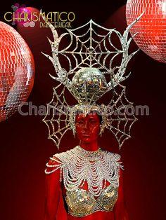 Charismatico Dancewear Store - CHARISMATICO Fancy Silver Mirror Embellished Spider Man Disco Ball Diva DRAG Headdress, $225.00 (http://www.charismatico-dancewear.com/products/CHARISMATICO-Fancy-Silver-Mirror-Embellished-Spider-Man-Disco-Ball-Diva-DRAG-Headdress.html)