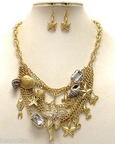 Chunky Gold Nautical Theme Starfish Shells Bib Statement Necklace & Earrings Set