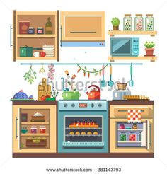 Home kitchenware, food and devices in color vector flat illustration. Stove, oven with baking, refrigerator, condiments