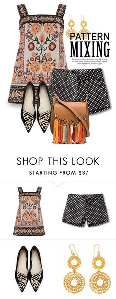 """Pattern Mix Master 1396"" by boxthoughts ❤ liked on Polyvore featuring Kavu, Sophia Webster, Chloé and patternmixing"