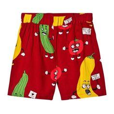 Mini Rodini Veggie Woven Shorts Red ($45) ❤ liked on Polyvore featuring mini rodini