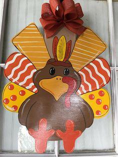 Front door decor thanksgiving decoration turkey door hanger