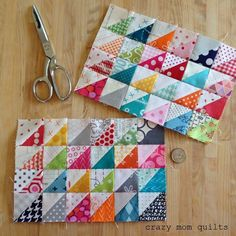 tiny things are my favorite (crazy mom quilts) Half Square Triangle Quilts, Square Quilt, Scrappy Quilts, Mini Quilts, Quilting Tips, Quilting Designs, Mini Quilt Patterns, Postage Stamp Quilt, Nancy Zieman