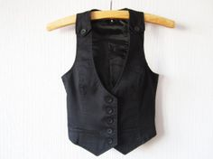 Black Steampunk Vest Womens Edwardian Victorian Formal Fitted Waistcoat Small