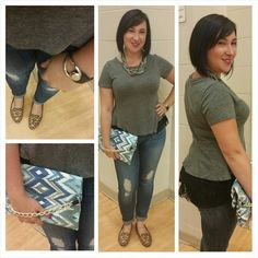 It's all about the details! #ootd #outfitpic #WIW. #freepeople deconstructed #lace #peplum #shirt, #LuckyBrand #jeans, #stelladot #necklace, #LindsayTia #printed #clutch, #StyleRushFashions #bracelet. #grey #blue #comfy. #trends #FallTrendPreview #PopsOfPrint #fashion #fashionista #instafashion #trustintricia #WardrobeConsultant #FashionStylist