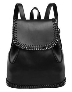 LUCLUC Black London Style Metallic Backpacks Expandable Bags - LUCLUC