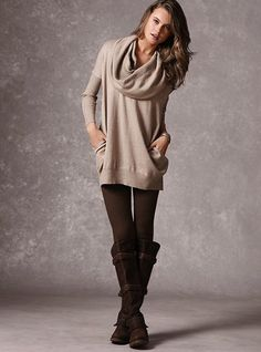 too soon for me, but I will have to own this whole outfit. LOVE. Multi-way Tunic Sweater - Victoria's Secret Sweater Boots, Comfy Sweater, Loose Sweater, Grey Sweater, Slouchy Sweater, Tunic Sweater, Crochet Cardigan, Sweater Weather, Brown Tights