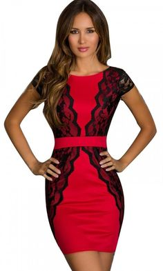 f8aa844df45 Love this! Red and Black Lace BodyCon V-neck Three Quarter Sleeves ...