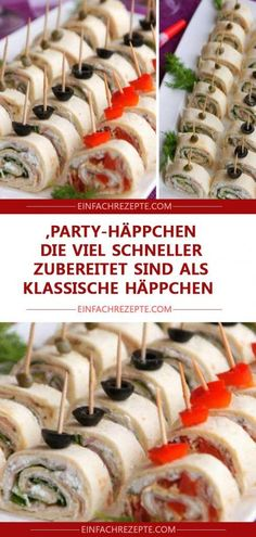 Party snacks that are prepared much faster than classic snacks ˜ ​​.Party snacks that are prepared much faster than classic snacks ?Finger food recipes make your next party a pleasureFinger food Best Party Appetizers, Snacks Für Party, Appetizer Recipes, Party Finger Foods, Party Buffet, Healthy Snacks, Easy Meals, Easy Recipes, Food And Drink