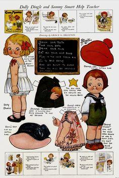 Dolly Ding and Sammy Smart Help Teacher-Dolly Dingle Paper Dolls- by Grace G. Drayton