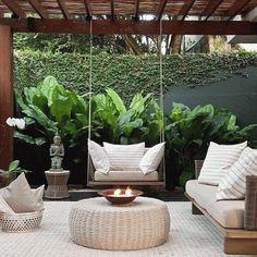 Outdoor Rooms, Outdoor Gardens, Outdoor Living, Rooftop Terrace Design, Terrace Garden, Backyard Patio Designs, Backyard Landscaping, Modern Pergola Designs, Tropical Backyard