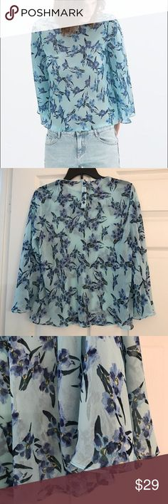 ZARA BLUE IRISES BELL SLEEVED SHEER TOP Beautiful little blue top adorned with Irises. Buttons in the back.. Bell sleeves. Sheer circular hem, easy-fit top. In excellent condition.. no flaws. Zara Tops