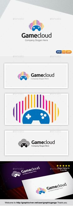 Game Cloud Logo Template PSD, Vector EPS, AI #design #logotype Download: http://graphicriver.net/item/game-cloud/10873950?ref=ksioks