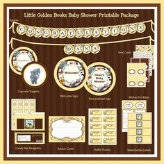 INSTANT DOWNLOAD -DIY Printable Little Golden Books Baby Shower Printable Package, Yellow and Brown via Etsy