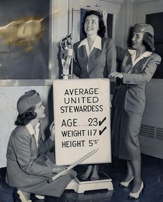 Three United Airlines stewardesses -- The Flight Attendant Life. Barbara Marion, Patricia Howard and Marie Zralek -- check out the specifications for their profession. Too funny. United Airlines, Airline Uniforms, Rare Historical Photos, Airline Travel, Air Travel, Flight Attendant Life, Come Fly With Me, Catherine Deneuve, Cabin Crew