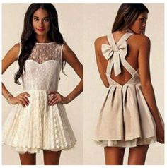 Women Sleeveless Lace Bow Open Backless Party Mini A-line Dress