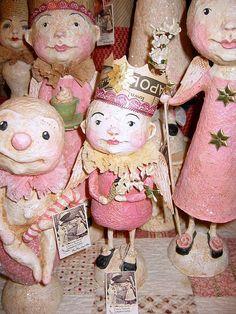 §papier mache in Christmas pink by Debra Schoch Shabby Chic Christmas, Pink Christmas, Vintage Christmas, Christmas Crafts, Paper Mache Clay, Paper Mache Sculpture, Clay Art, Paper Sculptures, Clay Dolls