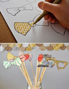 cute crafty ~ DIY photo booth props! We won't have a booth, but still fun for pics!