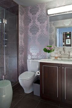 Transitional Bathroom with Metallic Wallpaper Pattern :: Month in the Life with an #interiordesigner