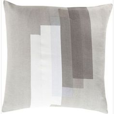 Illustrious Illustrations Gray and Ivory 22-Inch Pillow with Poly Fill