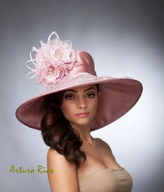 Mauve Couture Derby Hat, Kentucky derby hat, Lampshade Silk Hat. Del Mar Hats