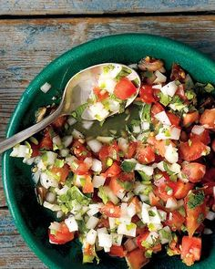 *-Salsa Fresca-In a medium bowl, stir together tomatoes, white onion, jalapeno, garlic, and fresh lime juice. Season with coarse salt and ground pepper and stir to combine. Let sit at least 15 minutes (or, covered, up to 4 hours). Stir in cilantro leaves just before serving