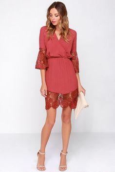 Pretty Brick Red Dress - Crocheted Lace Dress - Surplice Dress - $59.00