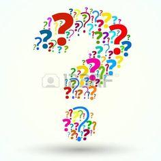 Signo de interrogación formado por signos de interrogación de muchos colores.
