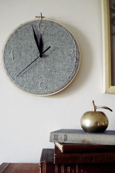 embroidered grey wall clock