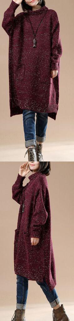Burgundy plus size sweaters women knit winter dress the seceret Universe